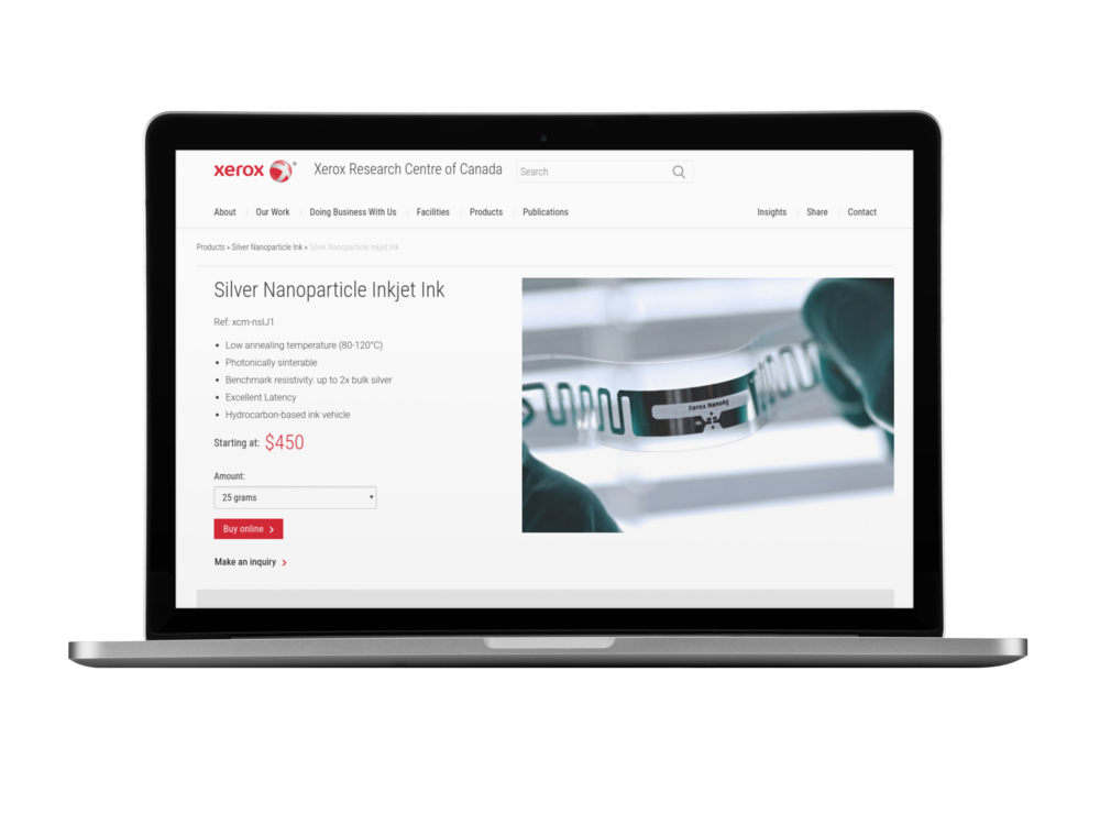 Screenshot of the e-commerce platform developed to sell electronic materials.