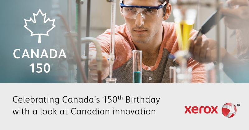 Social media graphic promoting a special Canada150 landing page celebrating Canadian innovation.