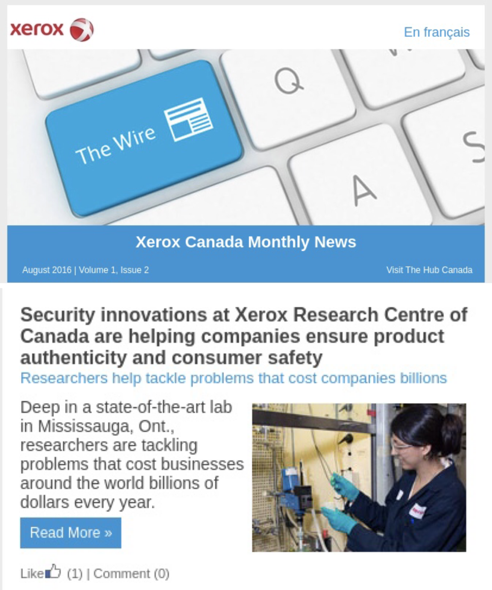 Xerox Canada's employee newsletter The Wire was a good way to educate the organization about the value of the research centre and innovation.