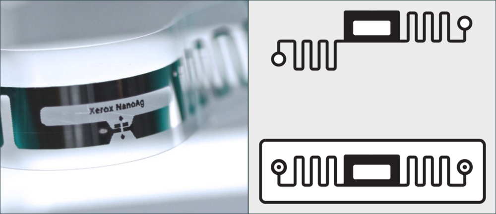 Left: Xerox Silver Nanoparticle Ink®️printed on a flexible substrate. Right: A product illustration depicting the image on the right and developed to support the launch of the Electronic Materials e-commerce platform.