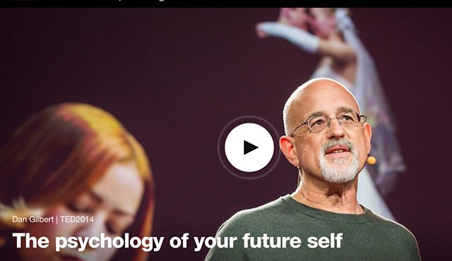 "#TeamTuesday The psychology of your future self https://bit.ly/SxshOs ""Human beings are works in progress that mistakenly think they're finished."" Dan Gilbert shares recent research on a phenomenon he calls the ""end of history illusion,"" where we somehow imagine that the person we are right now is the person we'll be for the rest of time. Hint: that's not the case.#Psychology #Self #Reflection #Human #Illusion #Video #Tedtalk"