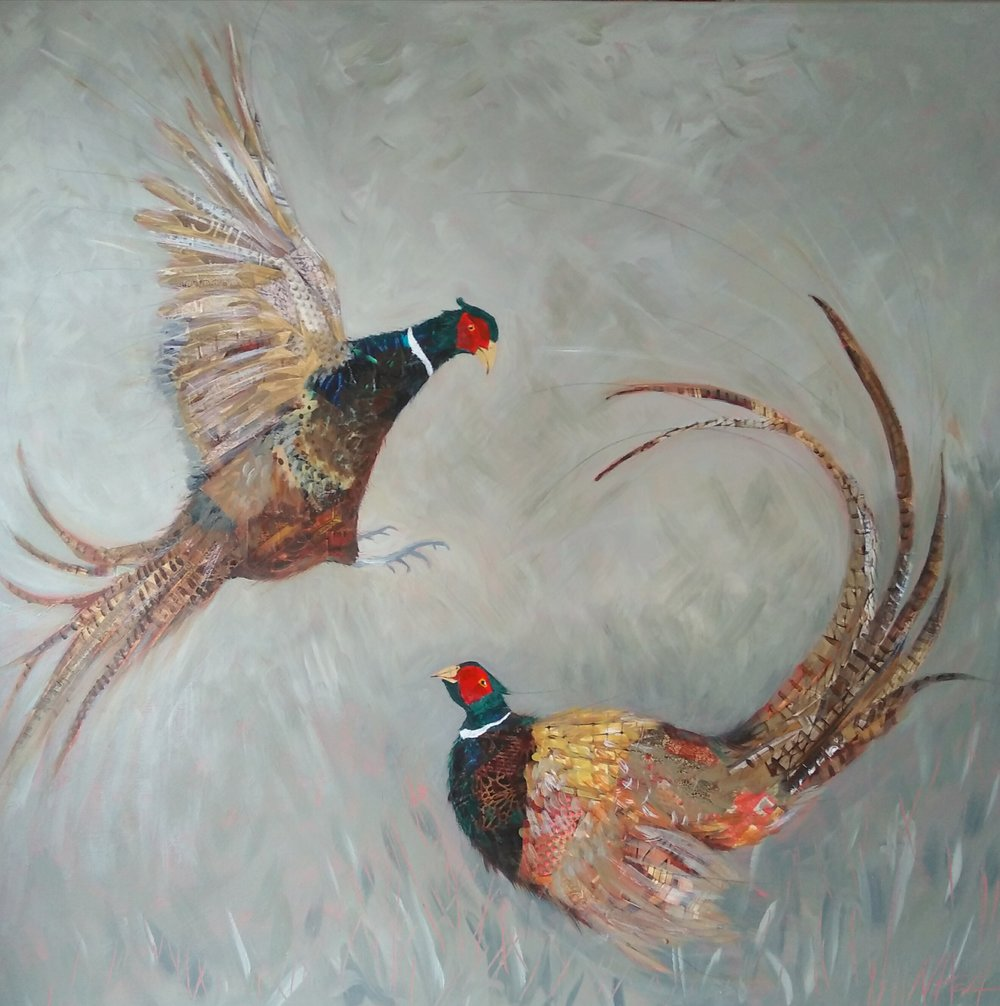 Fighting Pheasants (sold)