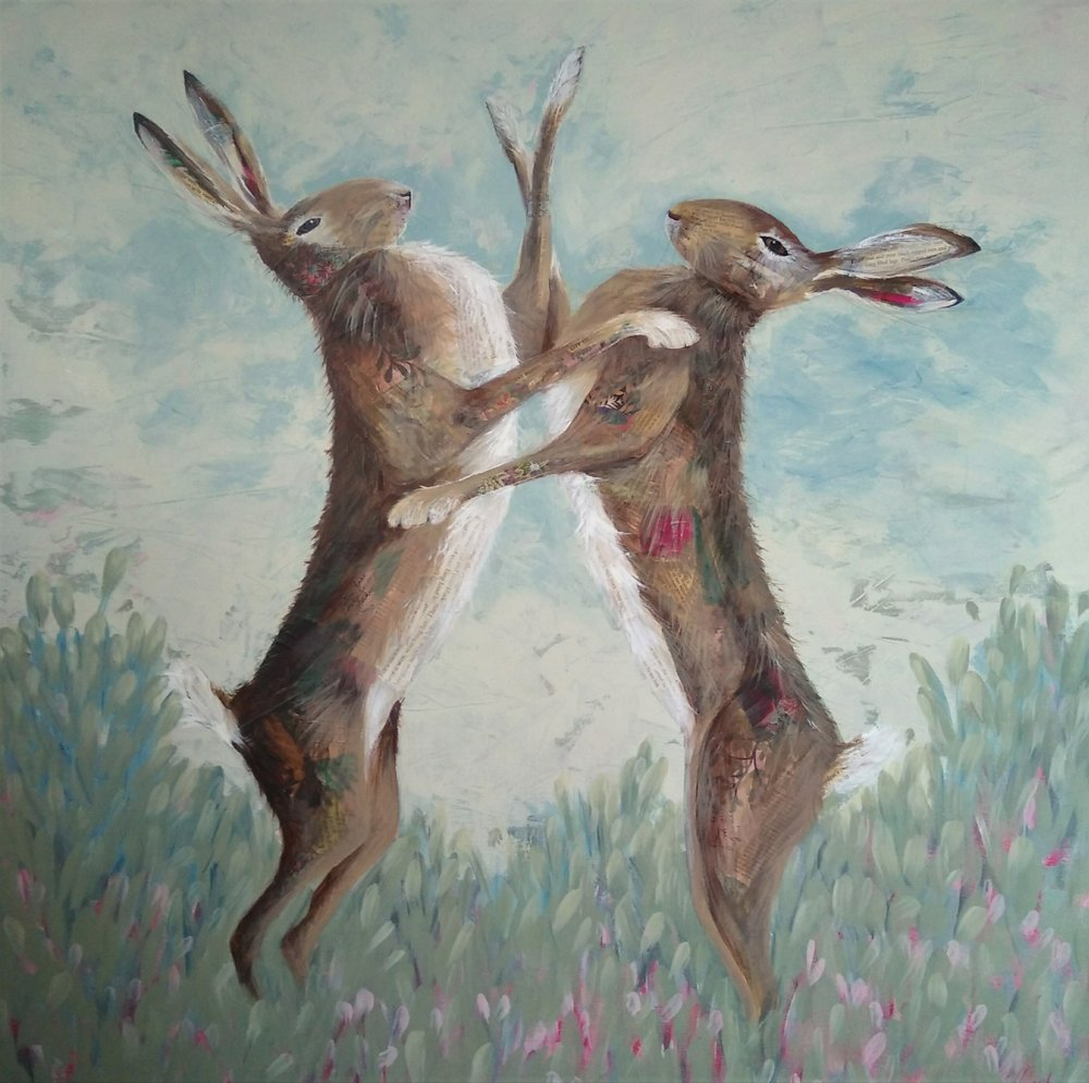 Boxing Hares (sold)