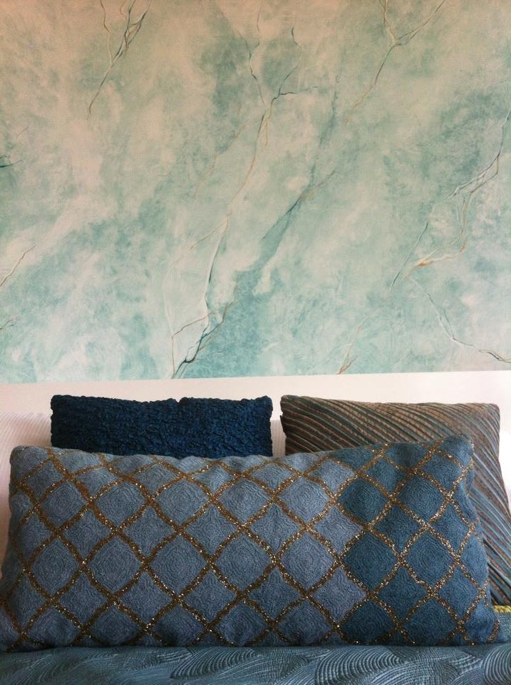 faux marble green blue turqiouse bedroom feature wall
