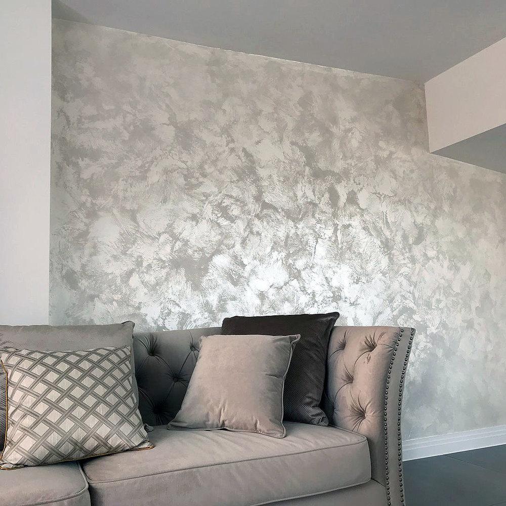 pearl bianco white suede bespoike wall finish
