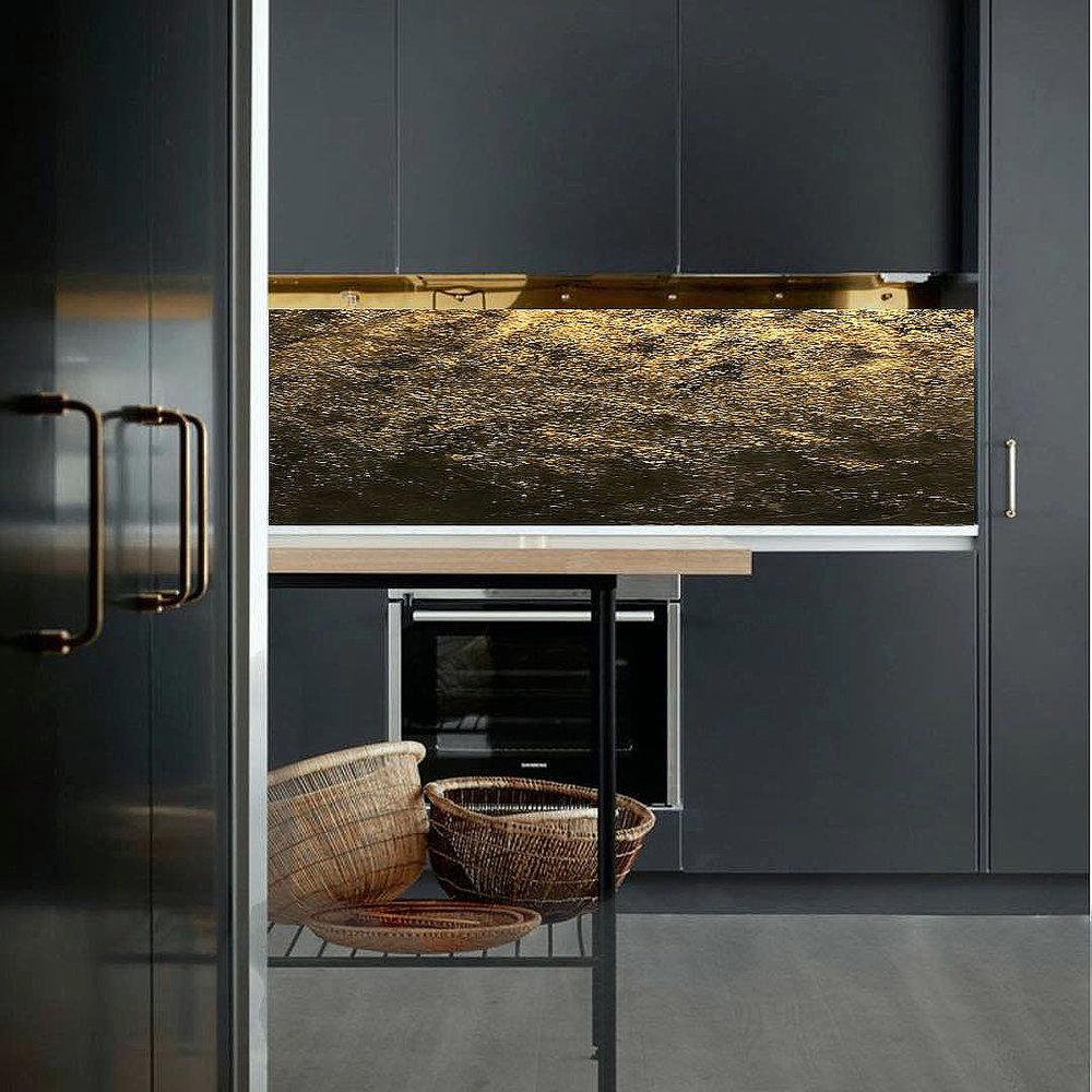 gold black  bespoke kitchen splashback glass