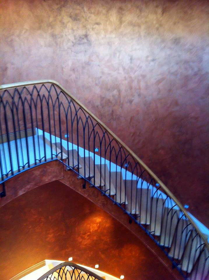 bespoke copper feature entrance staircase light reactive lustra finish 1