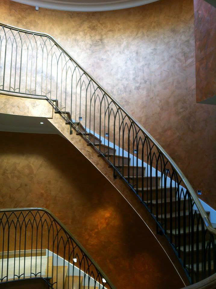 bespoke copper feature entrance staircase light reactive lustra finish
