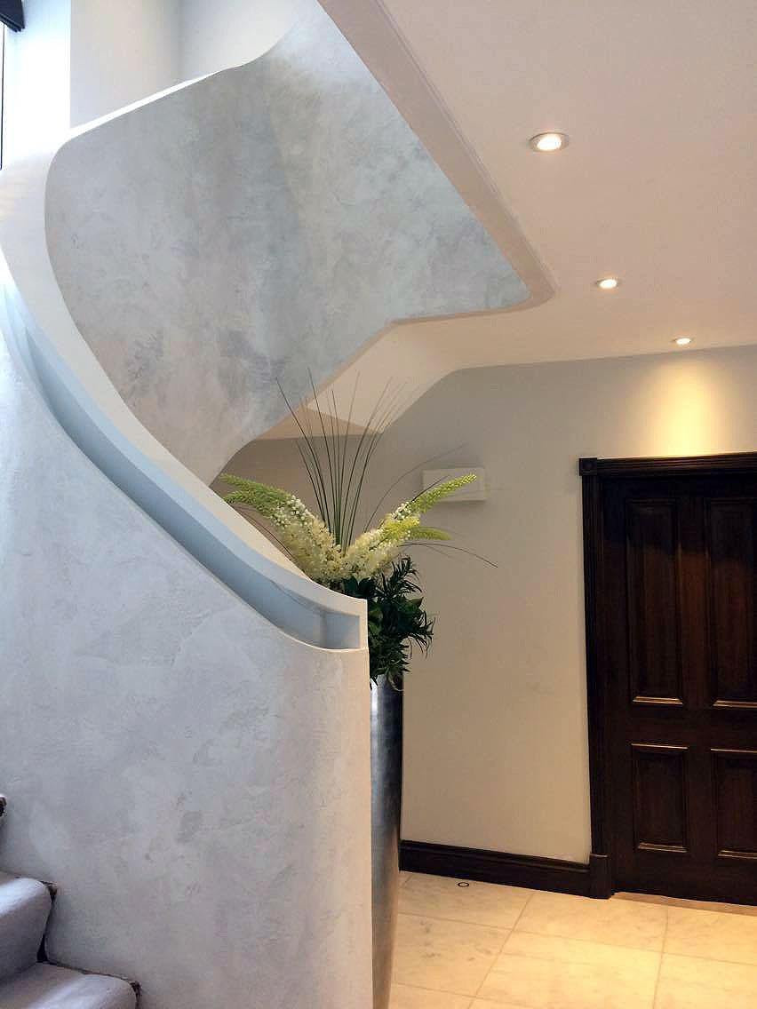 bespoke travertino polished plaster renovated stairs modern look unique fabulous finishes uk tammara mattingly