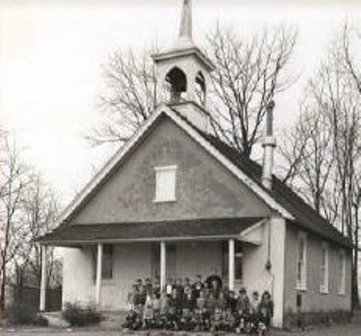 Our church building in 1954; still a one-room schoolhouse