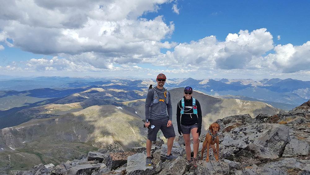 Viszla and family mountain climbing