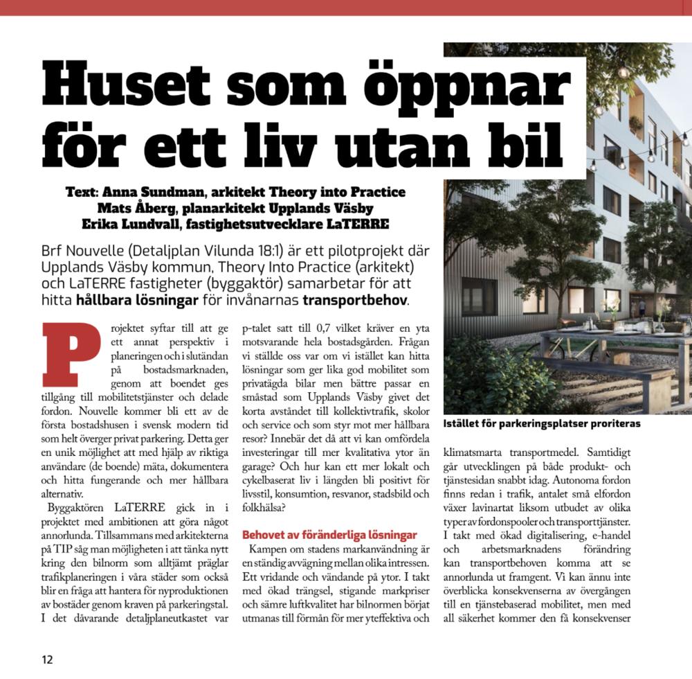 2019.03.25 Artikel i Reflexen, Huset som öppnar för ett liv utan bil