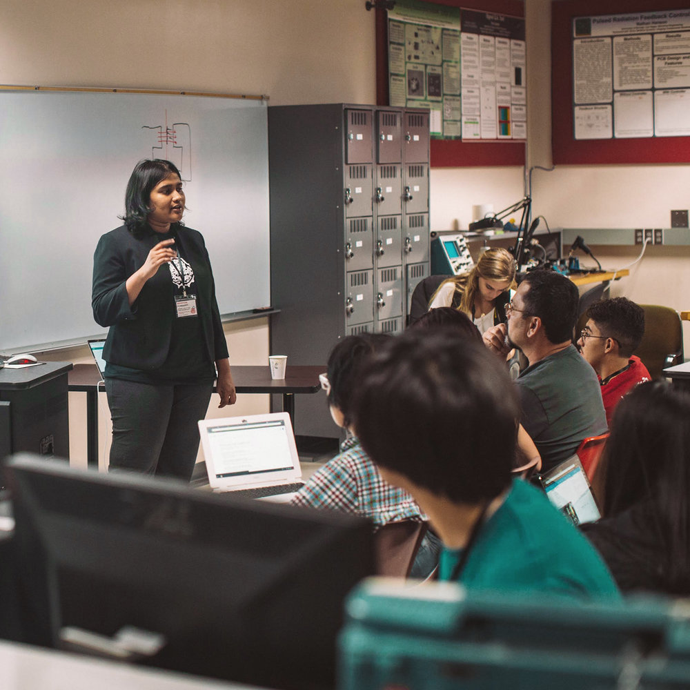 Manvitha Ponnapati (MIT) lectures UNLV students on the use of Arduino at the  2018 Las Vegas Make-A-Thon  organized in conjunction with  at-LAS .