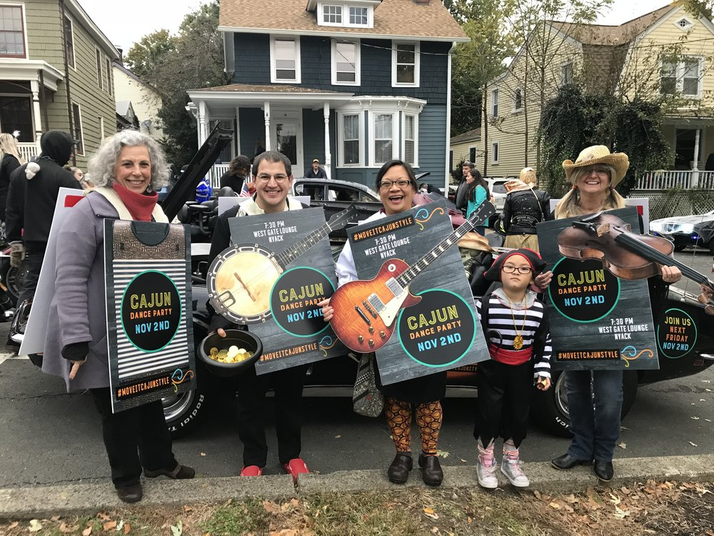 Board members and local artist have some fun at the Annual Halloween Parade in Nyack