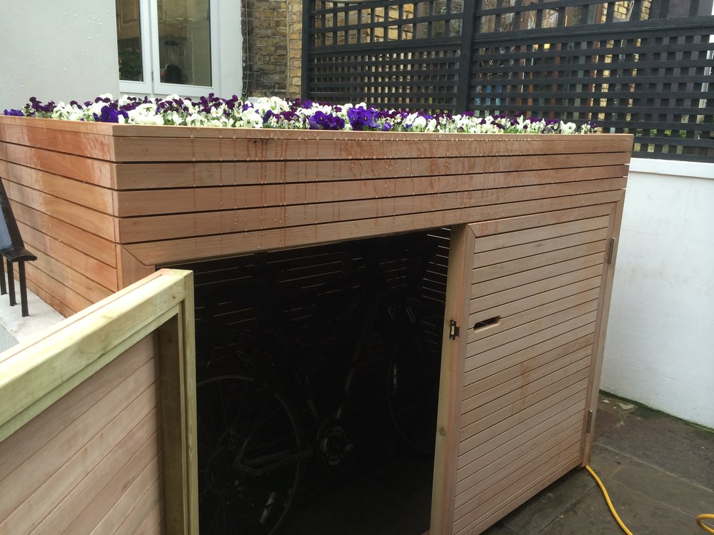 Bike storage with planted roof