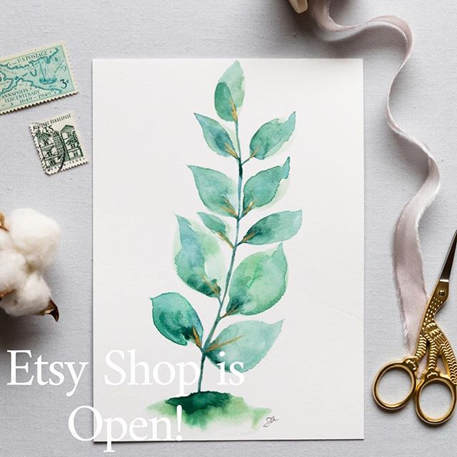 Etsy Shop is Open!  To check out what's currently in my shop head to www.etsy.com. In the search bar search: SarahAinsworthArt (all one word) or click on my link in profile.  Etsy is a little weird when it comes to searching for certain shops so that is the easiest way I've found to get there! Take a look around, favorite my shop and favorite the pieces you like most! There's a select amount of pieces up right now (Originals & Prints.) For a detailed description of the difference between the two, scroll to the bottom of the shop 😉 I'd love to know what you think! Are their certain pieces or styles you'd like to see more of? I will gradually be adding pieces as I paint more, but if there's any you see you love I recommend jumping on them! Thank you again for the encouragement and support along the way! . . . . #etsyshopopening #newetsyshop #etsyseller #etsywatercolor #watercolor_daily #watercolorbotanical #watercolorgreenery #floralwatercolors #shopetsy #artonetsy #thatsdarling #flatlayart #sarahainsworthphotography #carveouttimeforart #giftideasforher #mothersdaygiftideas #babyshowergiftideas #nurserywatercolor #nurseryartdecor #botanicalhomedecor #decorateyourwalls #gallerywallideas #housewarminggiftideas