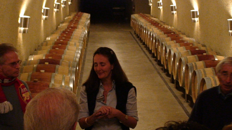 Florencia Palmaz leading a tour of the six-storey underground caves at Palmaz Winery.