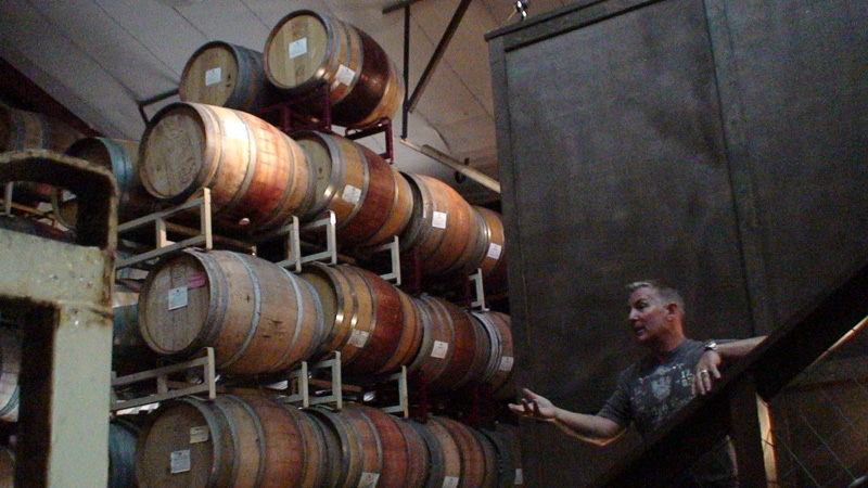 Steve Reynolds of Reynolds Family Winery in the barrel room.