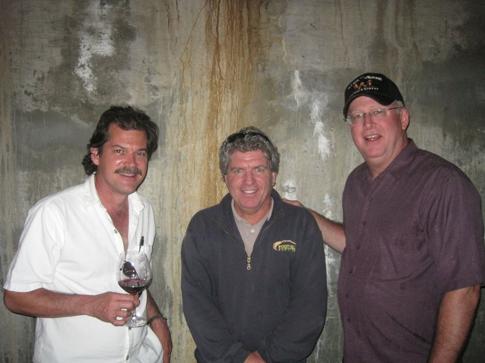 "The ""other"" Gary of Garys' Vineyard, Gary Franscioni (center) in Gary Pisoni's caves"