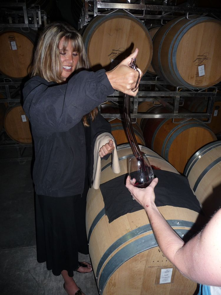 Tasting Godsend Cabernet Sauvignon from the barrel at Leal Vineyards
