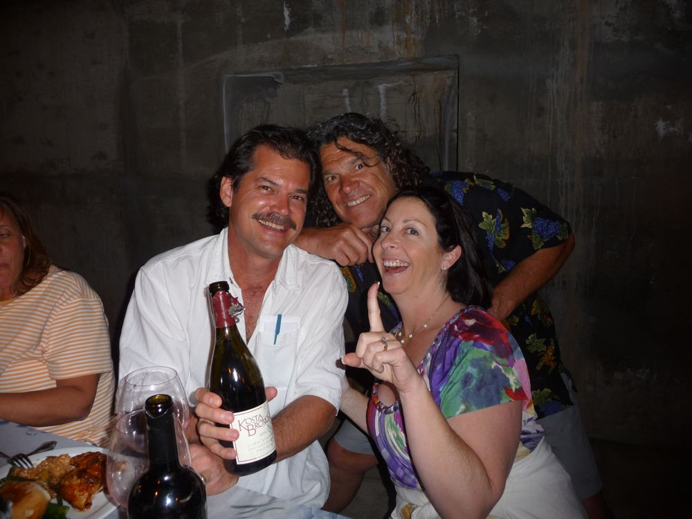 Hamming it up in the caves with original party animal Gary Pisoni (center)