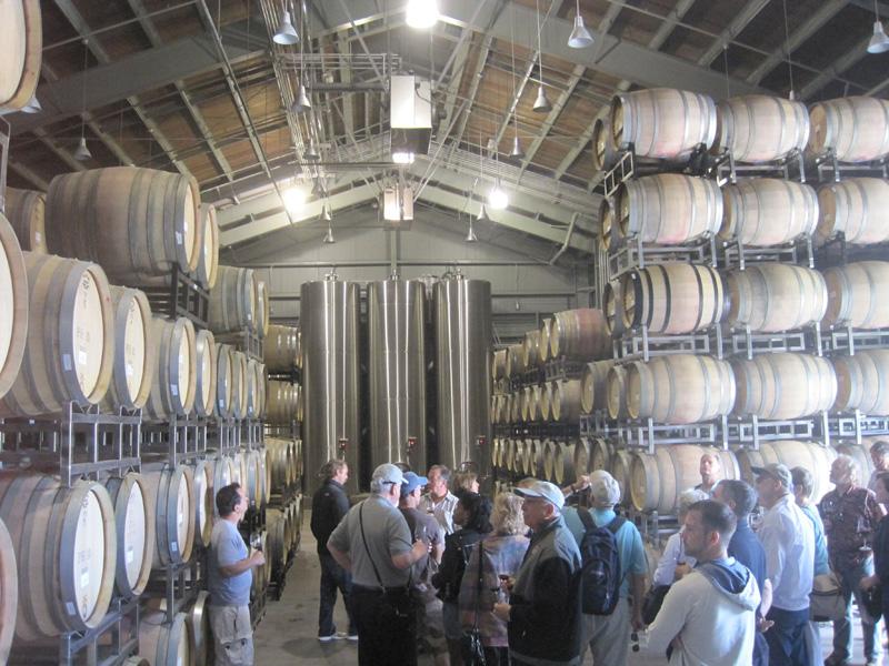 Barrel room at Paul Hobbs Winery