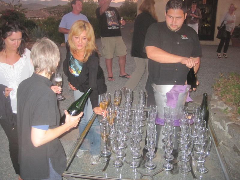 Champagne reception at La Villa del Valle