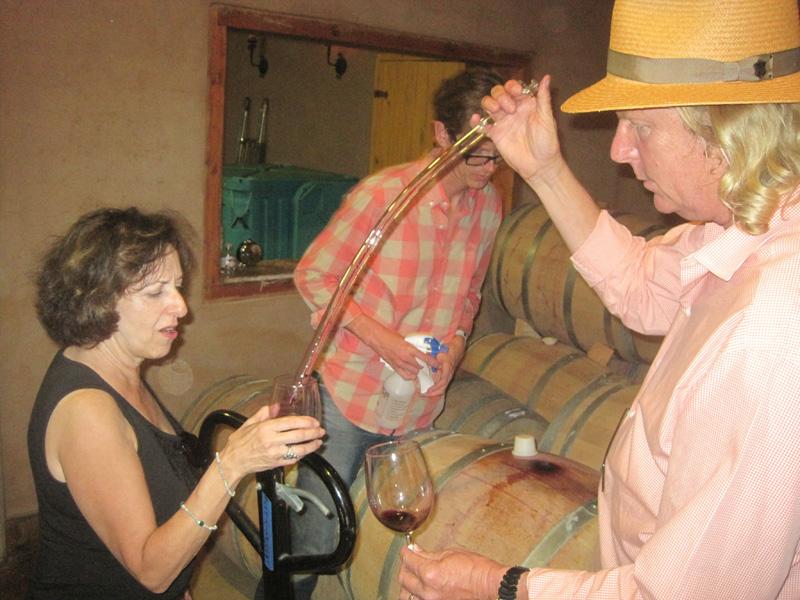Barrel tasting in the cellar at Lechuza Vineyards