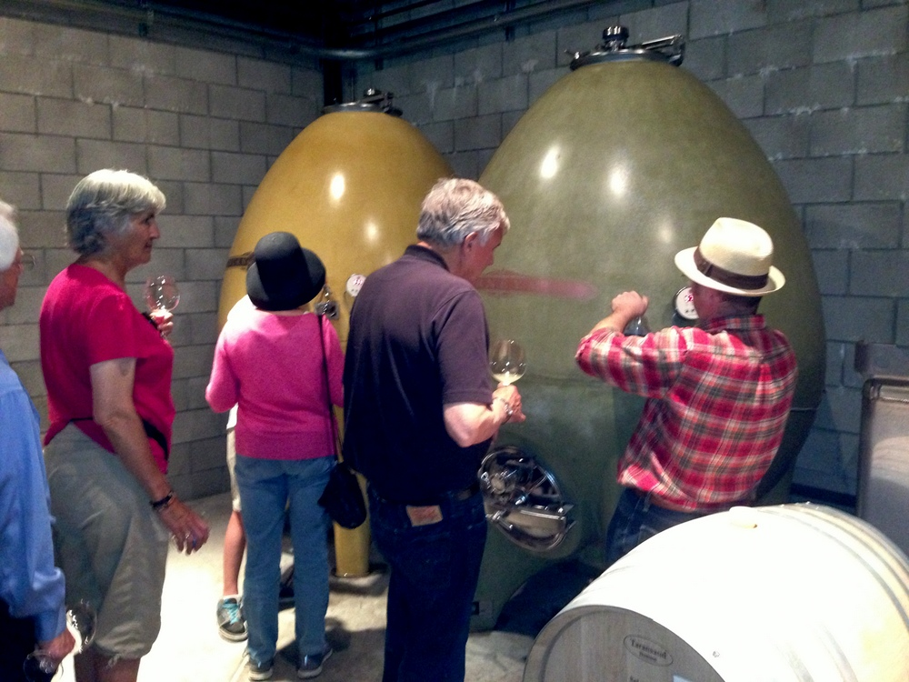 """Concrete eggs for fermenting Journeyman Chardonnay in Pete and Cathy Seghesio's """"garage"""" winery."""