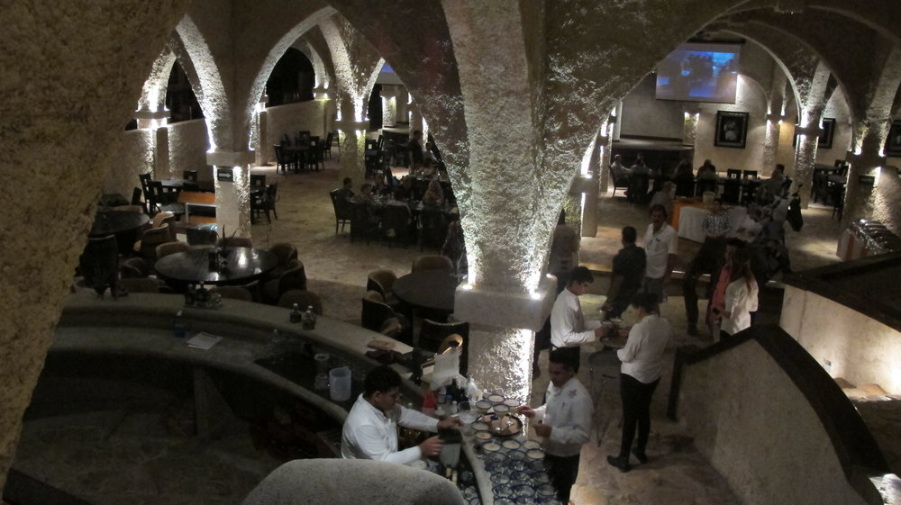 Cavernous underground dining room at La Cofradia