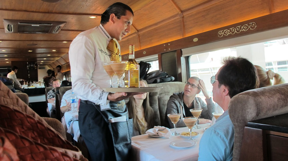 Cocktail service aboard the Cuervo Express