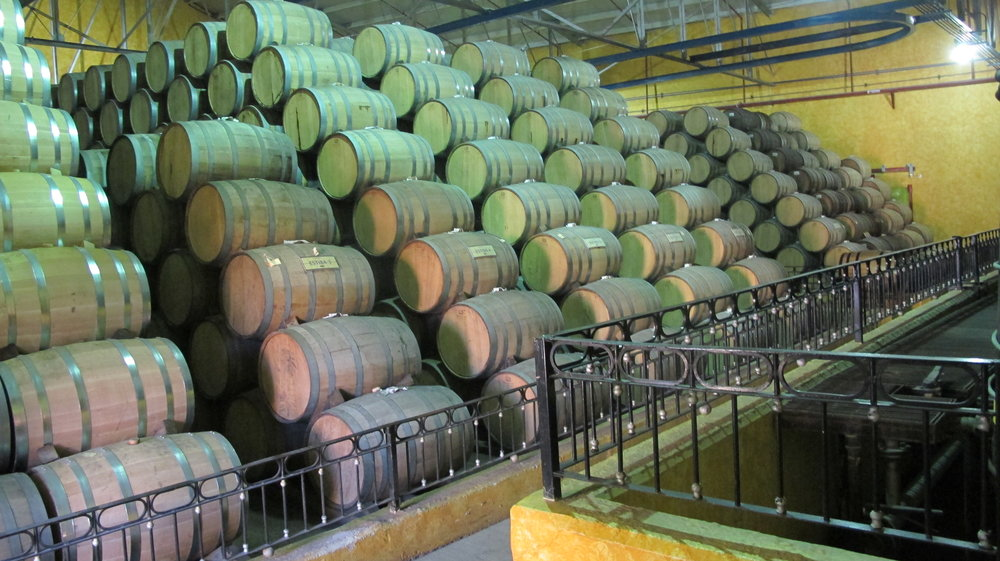 Tequila barrels at Jose Cuervo
