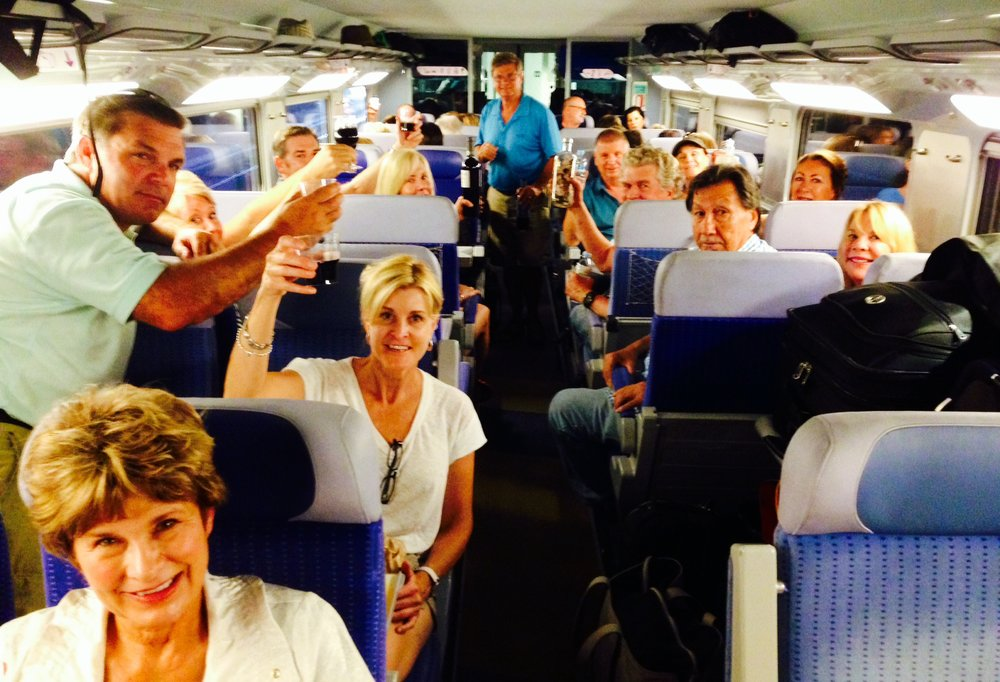 Party at 300 kilometers per hour (187 mph) on the high speed train from Barcelona to Perpignan