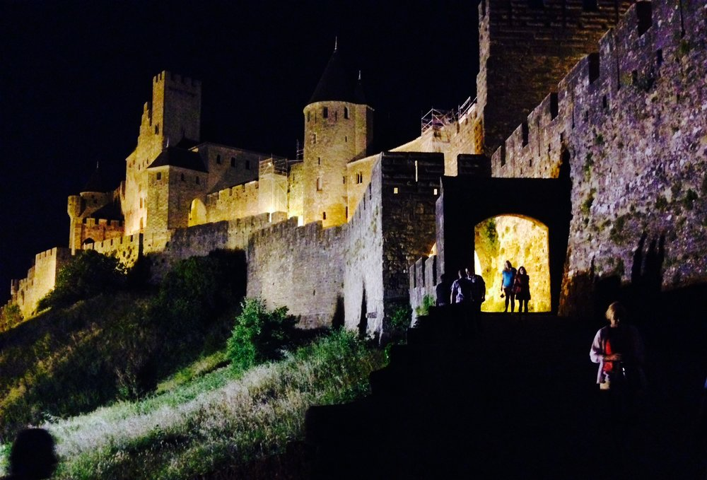 The walled city of Carcassonne where we spent the night