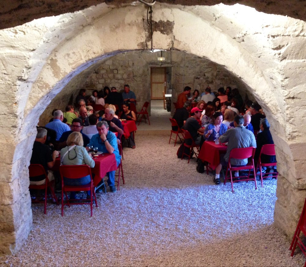 Lunch and wine tasting in the abbey cellar in Caunes-Minervois