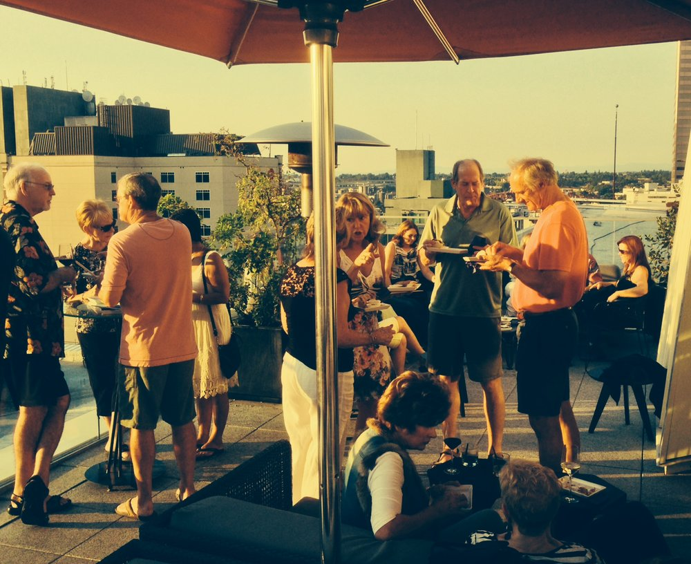 Opening cocktail reception on the 15th floor roof deck of Departure Restaurant overlooking pretty much all of Portland