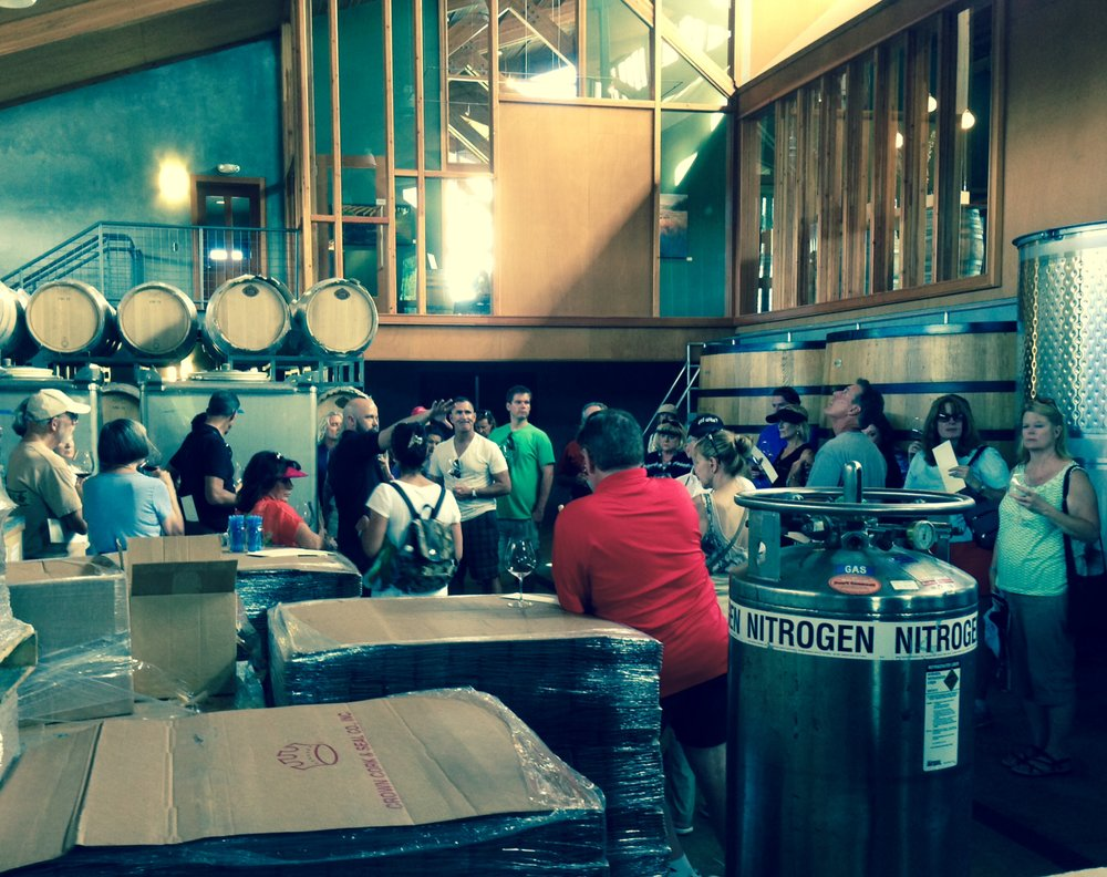 Inside the winery at Penner-Ash