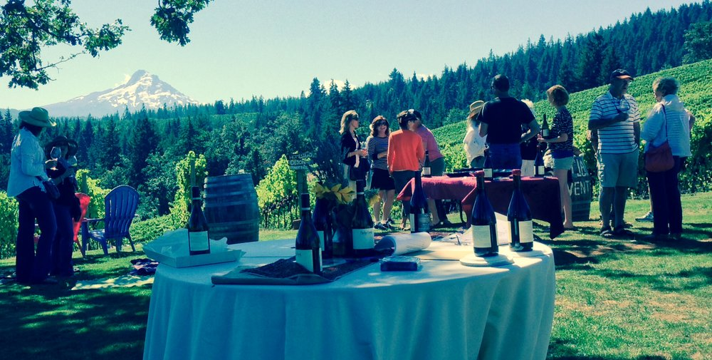 Picnic lunch at the top of Phelps Creek Vineyard ... hey, is that Mount Hood in the background?!