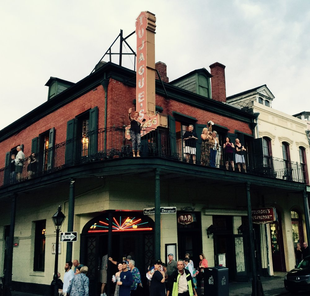 Hanging out at Tugaque's - continuously serving since 1856 and the second oldest restaurant in New Orleans.