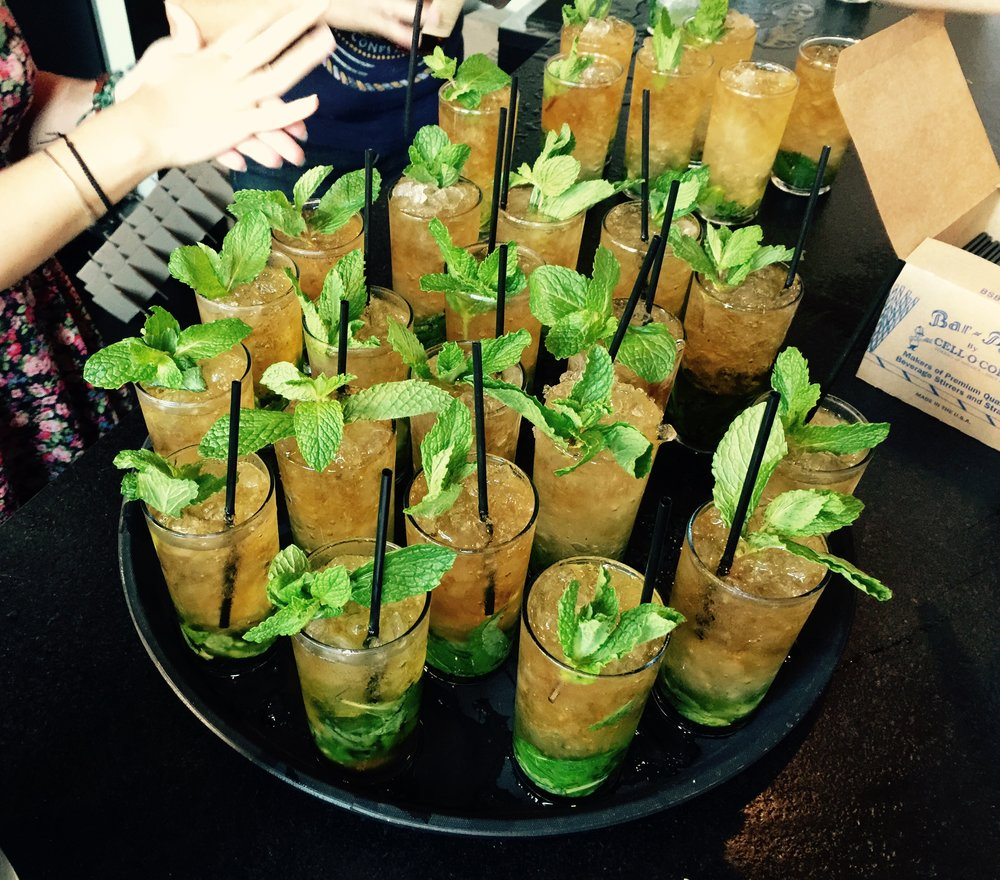 A platter of perfect Mint Juleps about to be delivered to a thirsty audience.