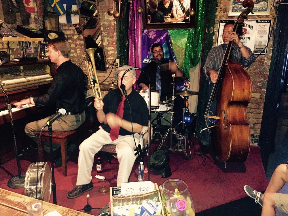 Second to last stop on the progressive  dinner: a private jazz set and cocktails at Fritzel's on Bourbon Street.