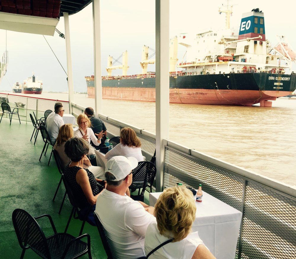 We started our third day with a relaxing riverboat cruise down the Mississippi on the Natchez in the private captain's salon. It was fun to relax and watch the world go by for a few hours.