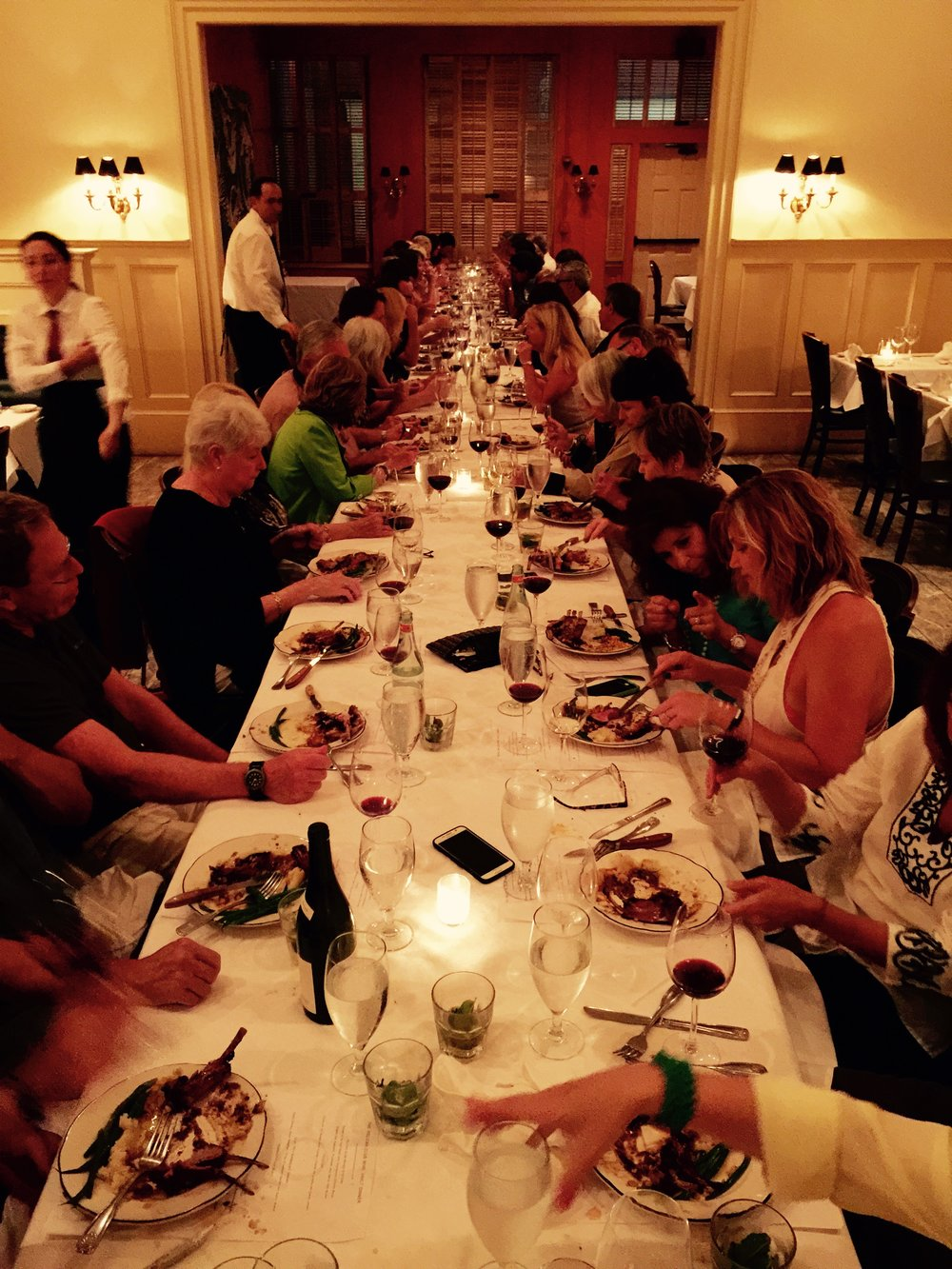 Finale dinner for 57 people at one table  at Pelican Club, one of the best restaurants in the Quarter.