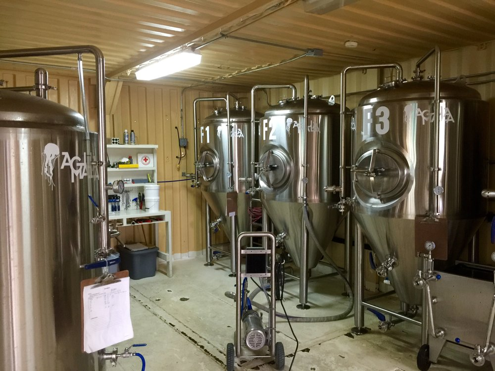 Beer brewing tanks at Agua Mala.