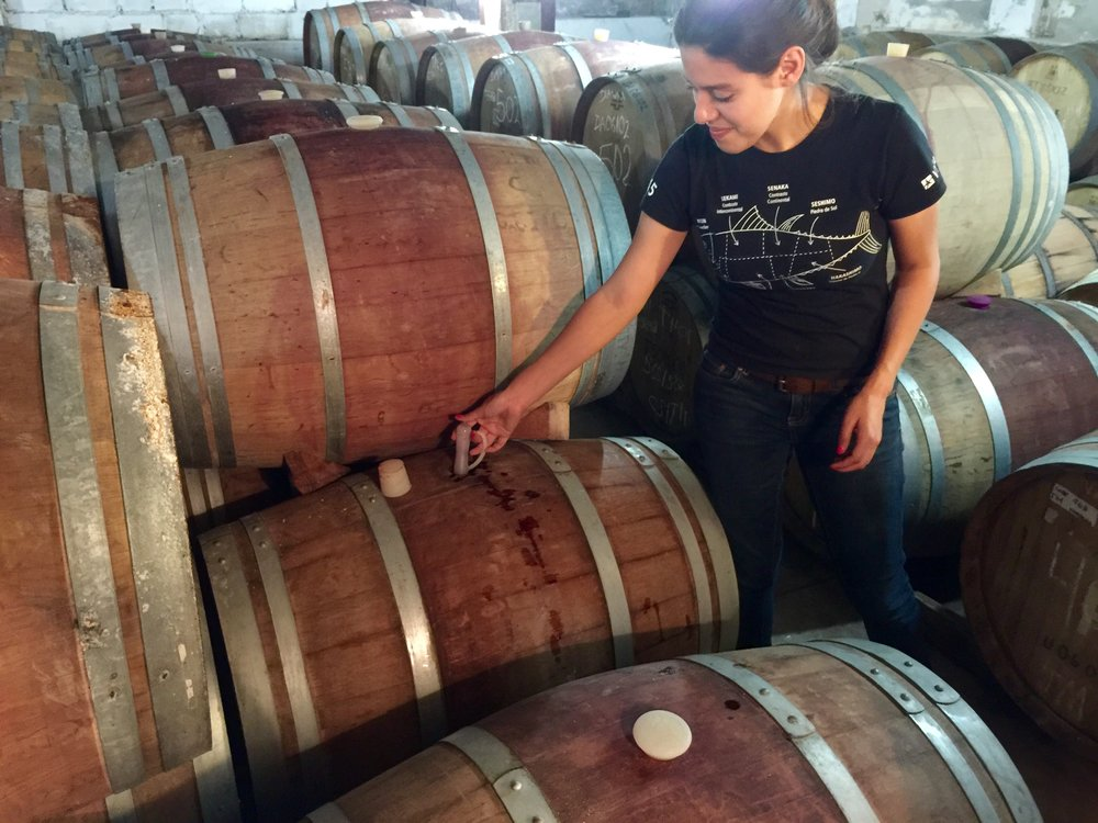Myrna getting ready to pour barrel  samples of the Cab the was fermenting in the previous picture two weeks earlier.