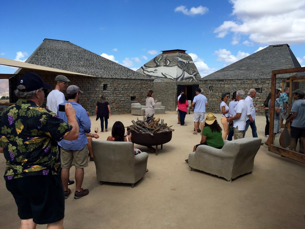 Gathering in the center courtyard at Clos de Tres Cantos.
