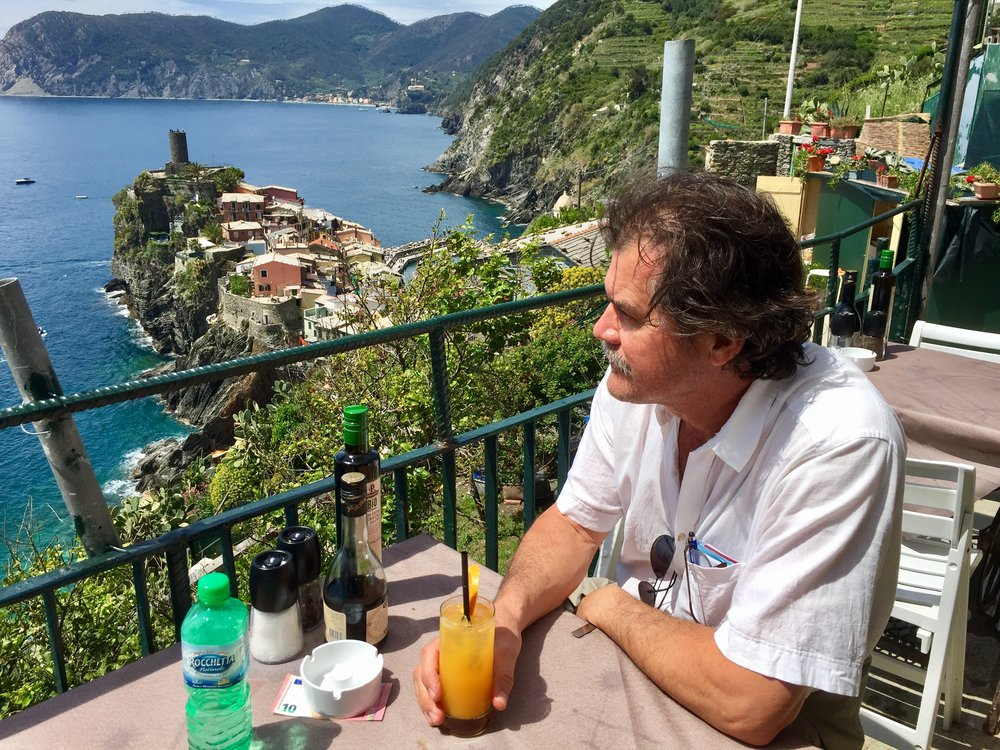 Copy of Most of the group hiked part of the trail from Vernazza to Corniglia to  go to La Torre bar for a morning screwdriver made with fresh squeezed oranges.