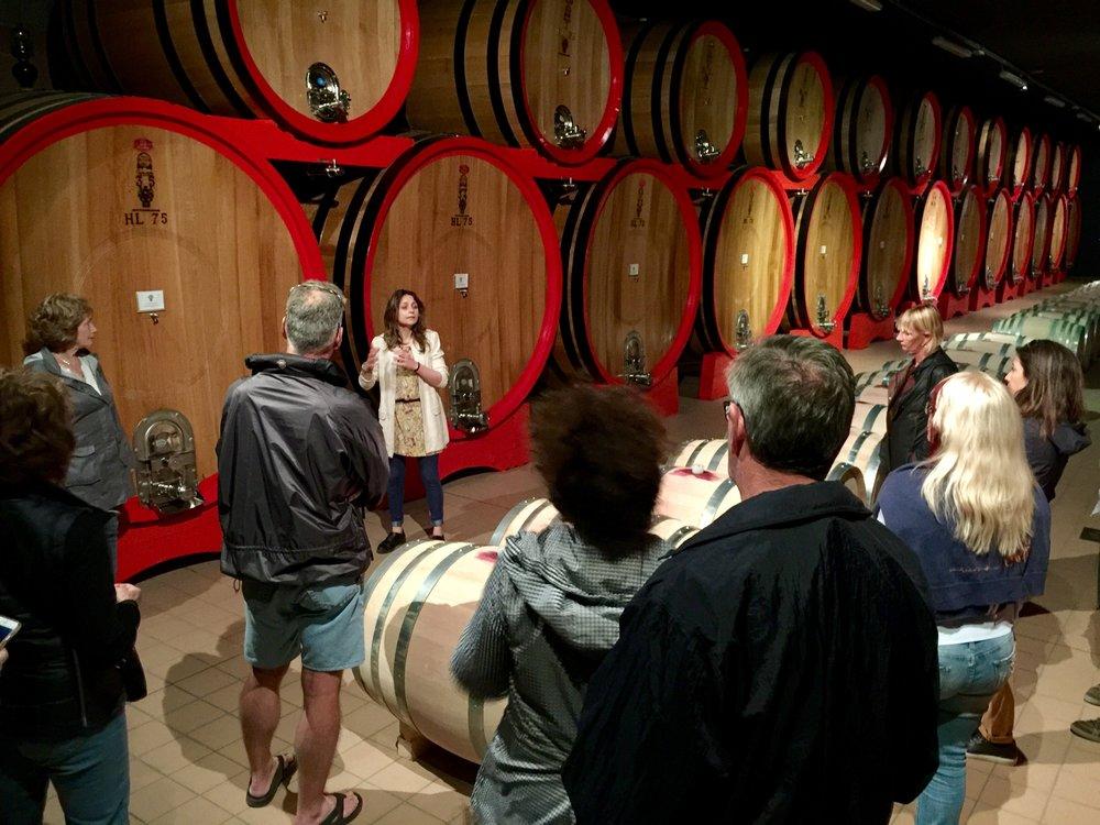 Barrel room at Ciacci Piccolomini winery.