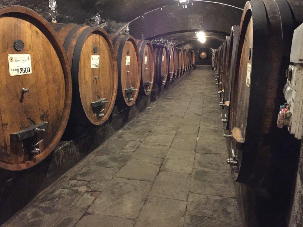 Barrel cellar at Badia a Coltibuono.