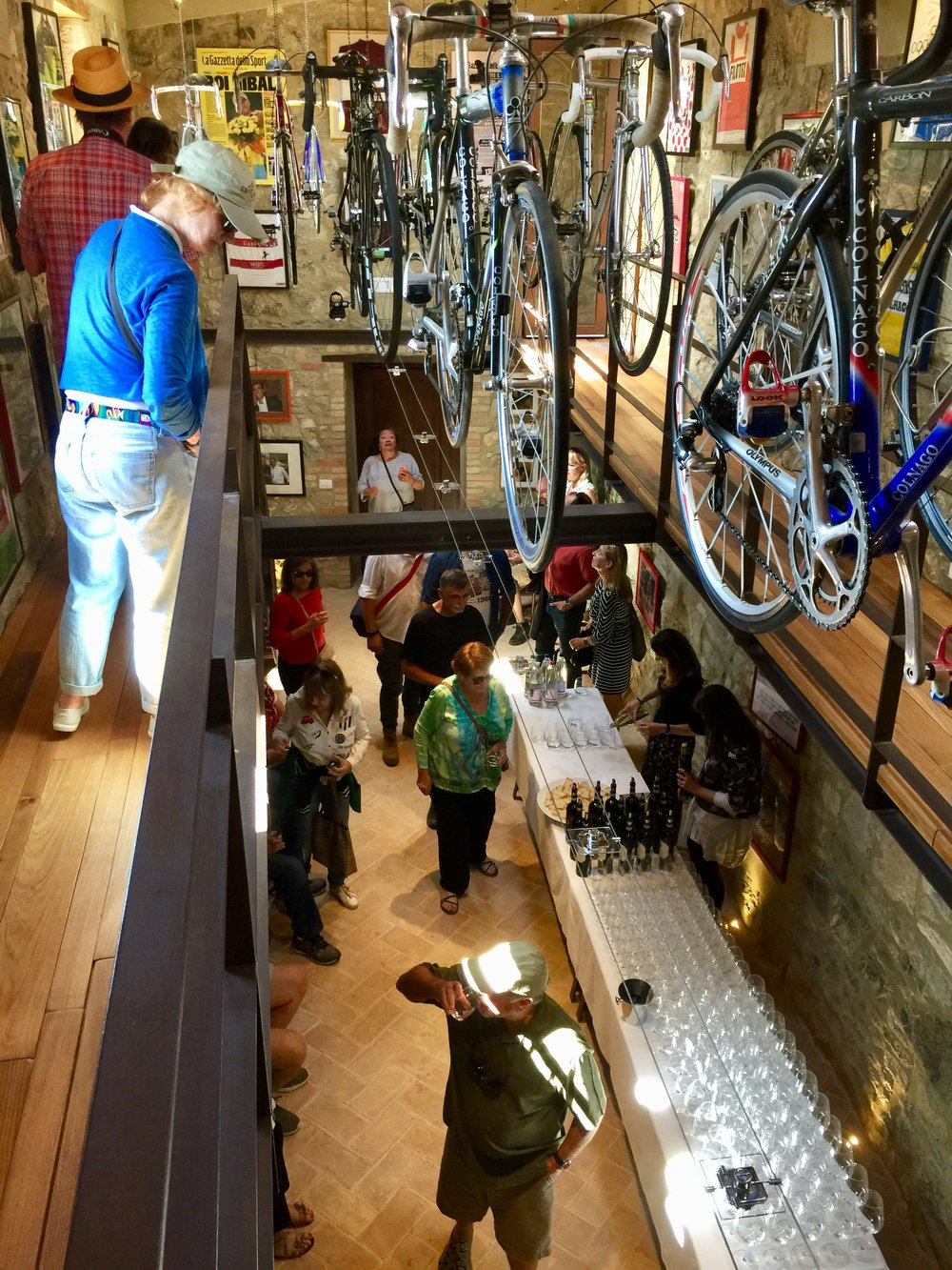 Wine tasting in the bicycle museum at Ciacci Piccolomini winery in Montalcino.